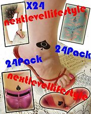 "24 Piece 1.5"" QOS Queen Of Spades Temporary Tattoo BBC Hotwife Cuckold Tattoo"