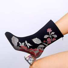 Ladies Block Heel Rhinestone Embroidery Mid Calf Boots Zip Round Toe Floral Shoe