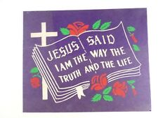 """VTG 1940s Religious Glitter Picture Poster """"Jesus Said I am the Way The Truth"""""""