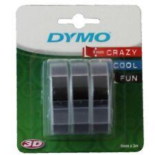 Dymo Schriftband für Prägegerät 3D, 9 mm x 3 m, 3 Stück, schwarz glänzend