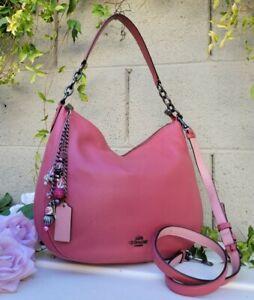 COACH 58036 rouge pink leather chelsea 32 crossbody purse shoulder hobo bag EUC