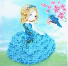 Mädchen Vogel Stickpackung mit Perlen Stickset Stickvorlage Stickbild 34