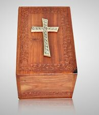 Wooden Cremation Urn w Brass Cross - Large, Rosewood Hand Carved, Great Deal!!