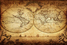 SUPERB ANTIQUE MAP OF THE WORLD CANVAS #7 QUALITY VINTAGE WALL ART PICTURE A1