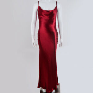 Women Satin Slip Dress Spaghetti Strap Sexy Backless Maxi Dress Silk Long Dress