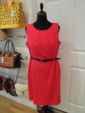 Florence & Fred Linen Blend Dress in Hot Pink with Black Patent Belt UK Size 14