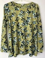 NEW J.JILL 1X 2X 3X Floral Shirt Top Stitched Sleeves L/S Cotton/Modal/Spx Green