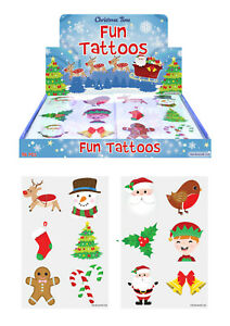 72 x Christmas XMAS Temporary Tattoos Transfers Kids Party Bag Filler Toy