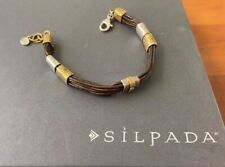 SILPADA Tan Lines SILVER & BRASS LEATHER  BRACELET B3324