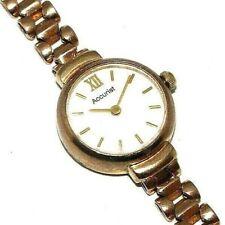 Ladies/womens 9ct rose gold round faced Accurist wristwatch