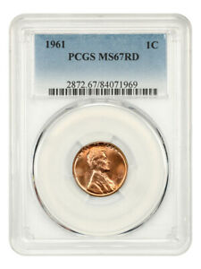 1961 1c PCGS MS67 RD - Lincoln Memorial Small Cents (1959-2008)