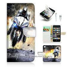 ( For iPhone 5 / 5S / SE ) Wallet Case Cover PB10343 Motorcycle