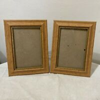 """2 Light Wood with Inner Gold Accent Freestanding Photo Picture Frames 4"""" x 6"""""""