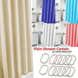 PLAIN SHOWER BATHROOM CURTAIN 12 HOOK RING SET 180X180CM MILDEW SPLASH RESISTANT