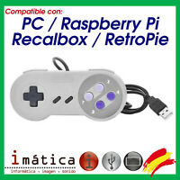 MANDO USB PC SUPER NINTENDO CABLE SNES CLASICA RETROPIE RECALBOX NES RASPBERRY