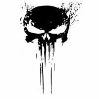 Punisher Car Sticker Skull Blood Motorcycle 10CMX15CM Black Silver