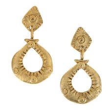 """Pierced Earrings Matte Yellow Gold Tone Primitive Tribal Hoop Dangle 2 3/4"""""""