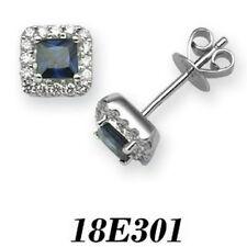 Pendientes de joyería con diamantes en oro blanco zafiro