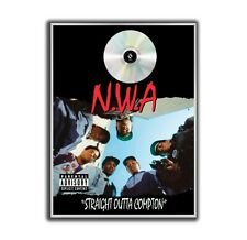 NWA Poster, Straight Outta Compton GOLD/PLATINIUM CD, gerahmtes Poster HipHop