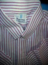 Vintage Sanforized Red Stripped Mens Shirt by Regency Metal Snap Collar 42