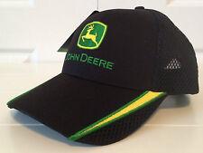 John Deere Black Fabric & Mesh Hat Cap w Yellow & Green Embroidery Vintage Logo
