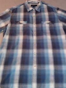 Daniel Cremieux  Short Sleeve Button Down Shirt Mens XL Blue Plaid CREMIEUX