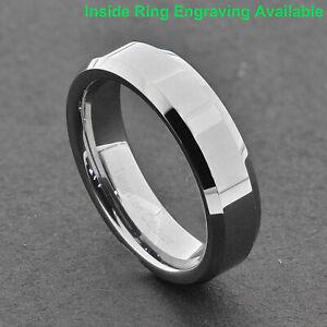 6mm High Polish Pip Cut Beveled Edge Tungsten Carbide Band Womens Wedding Ring