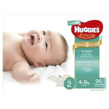 96Pc Huggies Unisex Ultimate Leakage Protection Infant Nappy Size 2 4-8Kg