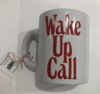 "Bando Ceramic Coffee Cup ""Wake Up Call"" Mug White Red New In Gift Box"