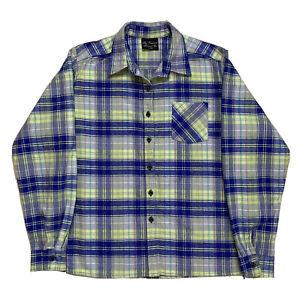 Womens XL Vermont Flannel Company Blue / Lime Green Plaid Cotton flannel Shirt