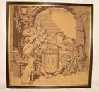 """Antique French Framed Tapestry 19""""x19"""" Jesters Card Players Drum Dog Puffy Nice"""