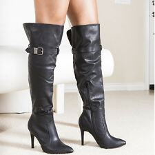 """Trendy Buckle Straps Sexy Slender 4""""  Heel Over-The-Knee Boots Black Size 6"""