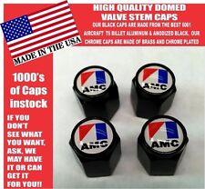 AMC American Motors Black Billet Valve Stem Caps -Very Nice! Unique!