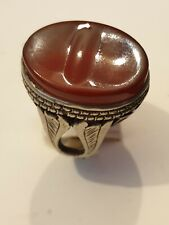 heavy Sterling Silver Mens Ring Red Agate Gemstone HandMade Turkish Ottoman