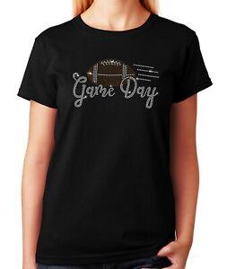 """Women's / Unisex Rhinestone T-shirt """" Game Day Football """""""