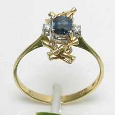 14k Solid Yellow Gold Genuine Diamonds & Natural Blue Oval Sapphire Ring TPJ