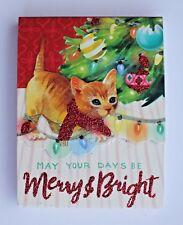 *PUNCH STUDIO Mini 75 Sheet Glitter Pocket Note Pad ~ Christmas ~ Playful Kitten