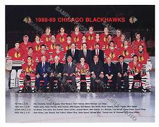 1988-89 CHICAGO BLACKHAWKS 8x10 TEAM PHOTO SAVARD KONROID MURRAY BELFOUR