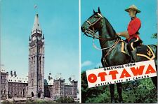 Parliament Buildings RCMP Mountie Ottawa Ontario ON Unused Vintage Postcard D43