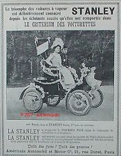 PUBLICITE STANLEY CRITERIUM DES VOITURETTES MME PRICE DE 1899 FRENCH AD PUB RARE