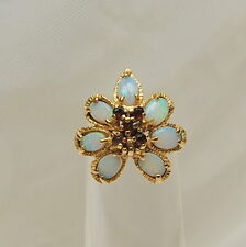 14 K yellow Gold  white Opal & red Garnet 1.06 ct Cocktail Ring Size 5