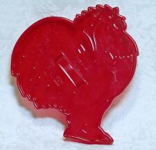 HRM Vintage Red Plastic Cookie Cutter - Rooster Farm Animal Chicken