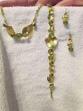 Jewelry Set - Gold Leaves, Green Buttons Neclace, Earrings, Bracelet