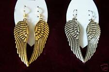 2 Pairs Gold and Silver Angel Wing Earrings