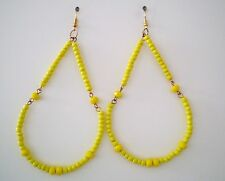 """Earrings Glass Yellow No Stone Gold Plated Drop 3.75"""" Handmade GB USA New"""