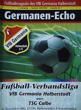 Programm 2002/03 VfB Germania Halberstadt - TSG Calbe