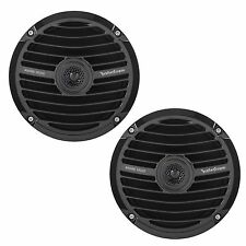 "New Pair Rockford Fosgate 6.5"" Marine Yacht Full Range Speakers, Black RM0652B"