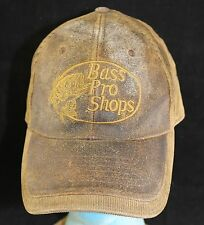 Vtg Bass Pro Shops Distressed Leather Corduroy Brown Baseball Hat