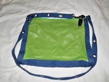 WHITING & DAVIS Denim Green MESH Crossbody Adjustable Strap Bag NWOT
