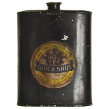 Antique Kings Quick Shot Ffg Black Powder Gunpowder Empty Tin Flask